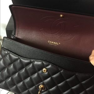 CHANEL Bags - Chanel Black Caviar Jumbo Double Flap Bag GHW